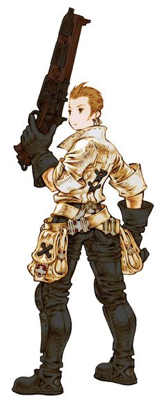 He doesn't sport it in Final Fantasy Tactics: War of the Lions, but those are some cute bags. (Balthier, Final Fantasy Tactics)