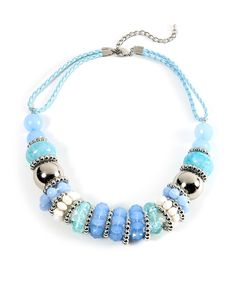 Shimmering Beaded Statement Necklace - Pastel Blue $7.50