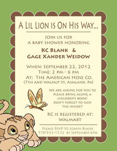 Lion King Baby Shower Lion King baby shower invite by Valerie Pavelko, via Behance Lion King Nursery, Lion King Theme, Lion King Baby Shower, Baby Boy Shower, Baby Shower Parties, Baby Shower Themes, Shower Ideas, Gender Reveal Themes, Baby Boy Themes