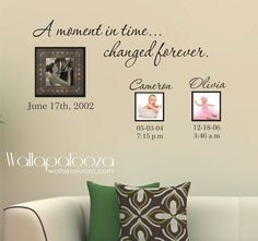 Family Wall Decal - Custom Wall Decal - A Moment In Time changed forever with set of names and dates on Etsy, $21.81
