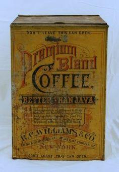 Premium Blend Coffee Tin Advertising Bin
