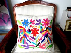 Otomi Pillow sham Multicolor cotton hand embroidered by Otomi indigenous women. Pillow Shams, Pillows, Mexican Crafts, Bird Pillow, Mexican Embroidery, Mexican Party, Embroidery Designs, Etsy Seller, Crafty