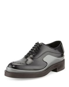 Runway Two-Tone Leather Derby Shoe, Black/Gray by Prada at Neiman Marcus.
