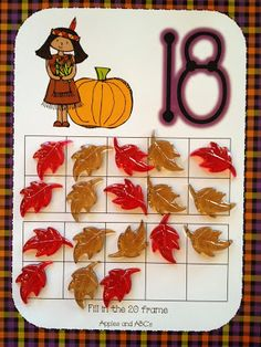 Thanksgiving Counting With 10 and 20 Frames (Native American & Pilgrim design; from Apples and ABC's)