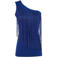 Jane Norman One shoulder tassel top (£10) ❤ liked on Polyvore featuring tops, shirts, blue, blusas, tank tops, women, panel shirt, blue tank, no sleeve shirts and one-shoulder tops