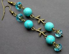 earrings turquoise and crystal. long earrings. dangle earrings.