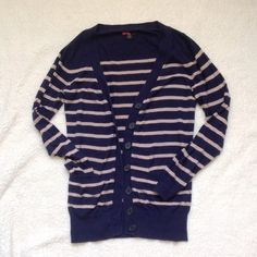 Blue and tan stripe cardigan Size small. Worn often but in great condition. Looks awesome paired with a button up blouse! Smoke and pet free home. Happy Poshing!  Forever 21 Sweaters Cardigans