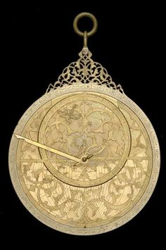 The purpose of the volvelle on the back of this unusual astrolabe is not entirely clear, but the ornament of the the head and tail of a dragon probably refers to the nodes of the moon (caput and cauda draconis, used in the computation of eclipses) which suggests that the volvelle had an astrological purpose.