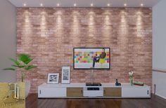 Pequeno Living: em destaque, sua parede revestida de Tijolinho com junta seca, passando um ar rústico e aconchegante ao ambiente.