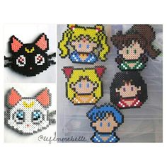 Sailor Moon set hama perler by lefemmebelle