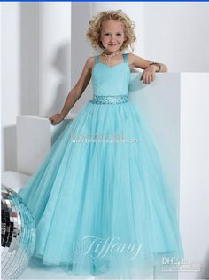 2013 Best Selling Sweety Pageant Girl 's Princess Ball Gown Straps Sash Tulle Flower Girl Dresses