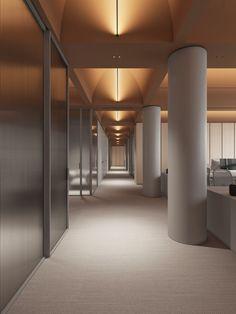 Konica Minolta on Behance Contemporary Interior Design, Office Interior Design, Interior Exterior, Office Interiors, Interior Architecture, Office Lighting, Interior Lighting, Lighting Design, Roof Design