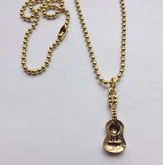 Ukulele Charm Necklace gold pewter solid brass by earringsbysusan, $7.49
