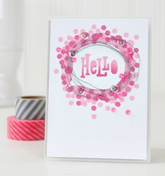 Dawn Woleslagle for Wplus9 featuring the Hey Hi Hello die and Little Bits stamp set.