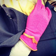 Staying warm and colorful this winter with these hot pink wool & leather trimmed gloves