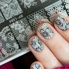 👏👏Nice stamping nails designed by Featuring stamping plate BP-L. Lace Nail Design, Lace Nail Art, Silver Nail Art, Lace Nails, Nail Art Diy, Flower Nails, Cool Nail Art, Nails Design, Nail Stamping Designs