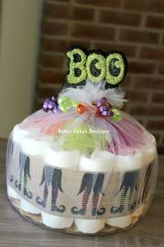 one tier boo halloween diaper cake halloween by babeecakesboutique