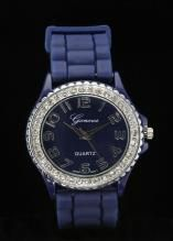 Crystal Large Round Face Navy Blue Silicone Watch www.sterlingjewelrystores.com