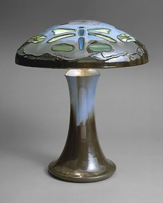 Table Lamp  / Fulper Pottery Company / 1910–15 / Shade and base: glazed pottery; shade inset with glass