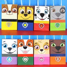 "Decorate your Paw Patrol Party with these 8 cute faces for your Favor Bags. You may print as many as you need. Use them to create your own favor bags or centerpieces. This file includes: 1 Chase 1 Skye 1 Zuma 1 Rubble 1 Marshall 1 Rocky 1 Everest 1 Pup Tracker Instruction Sheet (Bags are not included)   Instructions: 1) Purchase the file 2) Download the file: Click ""You"" then click ""Purchases and Reviews"" then download 3) Print the File (On White Card stock paper) 4) Cut the Image 5) Paste…"