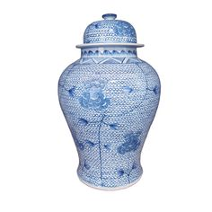 Intricate blue and white lace underlay floral patterns on this Temple Jar. Complementary cross stitch patterns are stenciled around the lid, giving the piece a sense of balance. Were still working to craft elegant and wholesome descriptions for each of our products, helping you form an