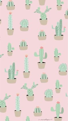 Another cute cactus wallpaper for iPhone or computer! Wallpaper Free, Cute Patterns Wallpaper, Iphone Background Wallpaper, Kawaii Wallpaper, Pastel Wallpaper, Aesthetic Iphone Wallpaper, Galaxy Wallpaper, Screen Wallpaper, Cartoon Wallpaper