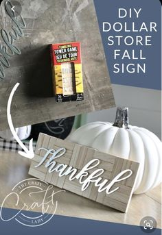 """DIY Dollar Store Fall Sign - How to make a simple farmhouse style fall """"Thankful"""" sign with a few Dollar Tree supplies tree fall decor diy Fall Dollar Tree Crafts 2019 Dollar Tree Fall, Dollar Tree Decor, Dollar Tree Crafts, Dollar Tree Store, Dollar Stores, Dollar Dollar, Dollar Store Gifts, Dollar Tree Finds, Dollar Store Christmas"""