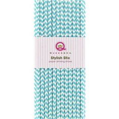 """Add style to your next celebration with these Turquoise Chevron Stylish Stix Paper Drinking Straws. The biodegradable straws are printed with a fun turquoise and white chevron pattern.    Dimensions:      Length: 7 3/4""""      There are 25 straws in each package."""