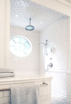 Tile For Our Master Shower 2019 Walk-in shower with waterfall shower headlove! The post Tile For Our Master Shower 2019 appeared first on Shower Diy. Bad Inspiration, Bathroom Inspiration, Dream Bathrooms, Beautiful Bathrooms, White Bathrooms, Luxury Bathrooms, Master Bathrooms, Small Bathrooms, Douches Subway Tile