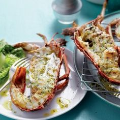 Braai isn't all about meat or chicken. Try some braaied crayfish with roasted garlic and parsley butter instead for something decadently different. Braai Recipes, Cooking Recipes, Seafood Dishes, Seafood Recipes, South African Recipes, Outdoor Food, Dehydrator Recipes, Dehydrated Food, Roasted Garlic