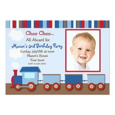 Train Birthday Party Invitations Choo Choo Train Photo Birthday Party Invitations