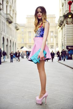 Kristina Bazan, style blogger of Kayture, in 'Candy Coloured' wearing a Peter Pilotto dress worn as a shirt, Fausto Puglisi skirt, Guiseppe Zanotti shoes and a Proenza Schouler clutch.