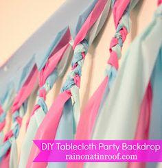 DIY Party Backdrop Tutorial: Cheap & Easy {rainonatinroof.com} #party #DIY #backdrop #tablecloth #decoration #tutorial