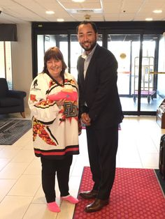 Where are the hockey fans at?! Check out this awesome picture featuring a Dayton Demolition Pro Hockey Special Military Hockey Jersey worn by die hard fan, Teresa Woodhouse and Jellyfeet founder, Ron Wright! She is rockin' that jersey and, of course, her Jellyfeet!  #woundedwarrior #DaytonDemolition