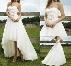 Hot Sale Chic High Low A Line Flower Sashes Lace Bodice Wedding Dress Size 8-20+