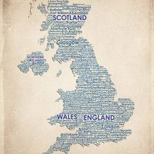 Wall mural - United Kingdom Map - American Flat