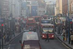 Air pollution and traffic in Putney high street on 3 January 2017, one of London's worst pollution hotspots