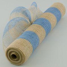 "21"" Burlap Deco Mesh: Denim Blue & Thick Jute Stripe (10 Yards)"