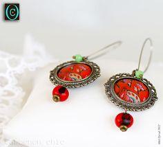 Boucles d'oreilles Hapiness, cabochon et perles de jade : Boucles d'oreille par cabochon-chic