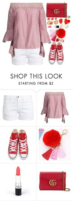 """""""Street Style"""" by simona-altobelli ❤ liked on Polyvore featuring Frame, Converse, Gucci, GUESS, StreetStyle, red, stripes and MyStyle"""