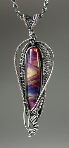 Wire-Woven Fine Silver Pendant with Art Glass by DesignsByKaska