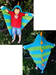 "Any little boy will love Snap the Dragon blanket! It is made using worsted-weight yarn, holding 2 strands together. Size: 50""W x 52""L."