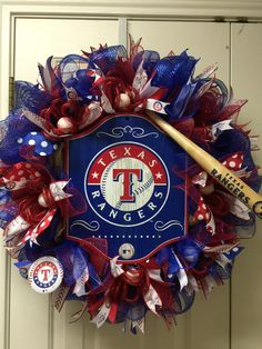 Texas Rangers wreath by Twentycoats Wreath Creations