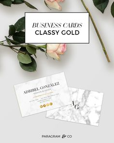 Marble white modern faux gold foil double-Sided standard business cards for Microsoft Word | Plantillas de tarjetas de presentacion blancas en marmol y dorado para Word