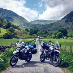 Yamaha XT 660 Z Tenere and Triumph Tiger 800 XCX. Beautiful nature of England. Lake district. UK. Motorcycle Adventure Travel Rider. VISORHEAD.