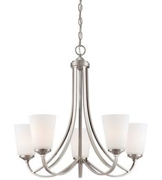 Minka-Lavery Overland Park 5 Light Chandelier in Brushed Nickel 4965-84 #lightingnewyork #lny #lighting