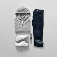 Essentials by jeromeguerzon Casual Wear, Casual Outfits, Men Casual, Fashion Outfits, Mens Fashion, Stan Smith Outfit, Look At My, Mein Style, Outfit Grid