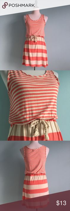 Coral Striped Nautical Dress Adorable coral and cream striped sleeveless dress. Cute rope tie on waist with elastic band. Size small by Pink Rose, fits 6-8. Please note there is some pilling on the material from many wears. Pink Rose Dresses