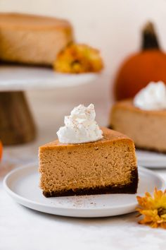 this pumpkin cheesecake has the perfect light & creamy texture, it's filled with pumpkin & pumpkin spices, & served on a super gingery gingersnap crust. Pumpkin Cheesecake Gingersnap Crust, Pumpkin Cheesecake Recipes, Pumpkin Recipes, Dessert Recipes, Pumpkin Custard, Cheese Pumpkin, Pumpkin Pumpkin, Pumpkin Spice, Best Sweets