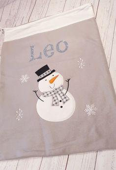 silver, white and grey Snow man. Santa Sack, Sacks, Christmas Morning, All Things Christmas, Grey And White, Christmas Stockings, Snowman, December, Felt